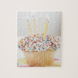 USA, New Jersey, Jersey City, Cupcake with Jigsaw Puzzle