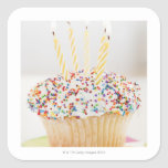 USA, New Jersey, Jersey City, Cupcake with Square Sticker