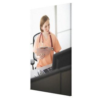 USA, New Jersey, Jersey City, female nurse Stretched Canvas Print