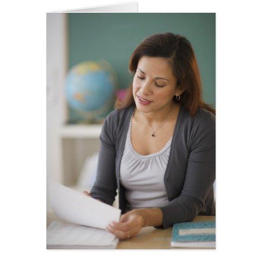USA, New Jersey, Jersey City, female teacher Greeting Cards