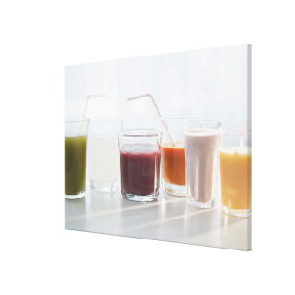 USA, New Jersey, Jersey City, fresh smoothies Canvas Print