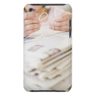 USA, New Jersey, Jersey City, Girl's (8-9) hands iPod Touch Case