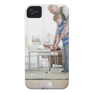 USA, New Jersey, Jersey City, grandfather and iPhone 4 Cases