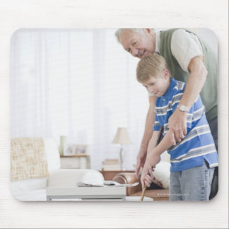 USA, New Jersey, Jersey City, grandfather and Mouse Pad