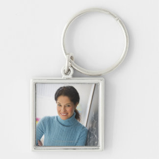 USA, New Jersey, Jersey City, Mature woman Silver-Colored Square Key Ring