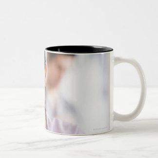 USA, New Jersey, Jersey City, Portrait of female Two-Tone Mug