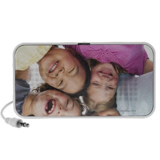 USA, New Jersey, Jersey City, Portrait of girls iPod Speakers