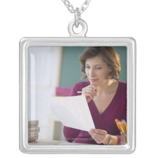 USA, New Jersey, Jersey City, portrait of Silver Plated Necklace