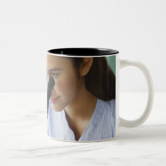 USA, New Jersey, Jersey City, Schoolgirl (12-13) Two-Tone Mug