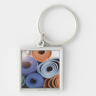 USA, New Jersey, Jersey City, Stack of exercise Silver-Colored Square Key Ring