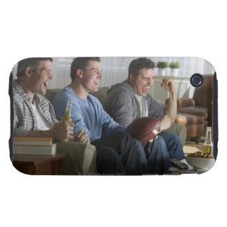 USA, New Jersey, Jersey City, three men watching 2 iPhone 3 Tough Case