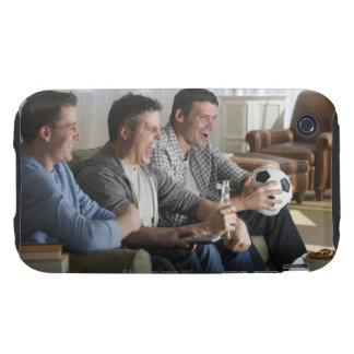 USA, New Jersey, Jersey City, three men watching iPhone 3 Tough Case