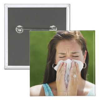 USA, New Jersey, Jersey City, Woman blowing nose 15 Cm Square Badge