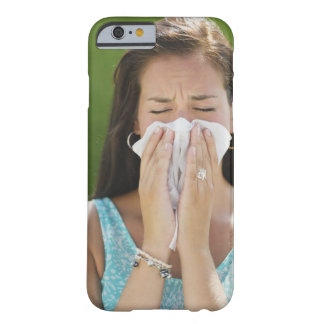 USA, New Jersey, Jersey City, Woman blowing nose Barely There iPhone 6 Case