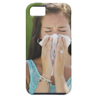 USA, New Jersey, Jersey City, Woman blowing nose Case For The iPhone 5