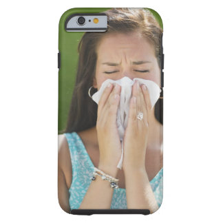 USA, New Jersey, Jersey City, Woman blowing nose Tough iPhone 6 Case