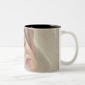 USA, New Jersey, Jersey City, woman receiving Two-Tone Mug