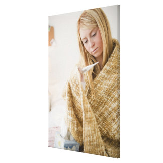 USA, New Jersey, Jersey City, woman wrapped in Canvas Print