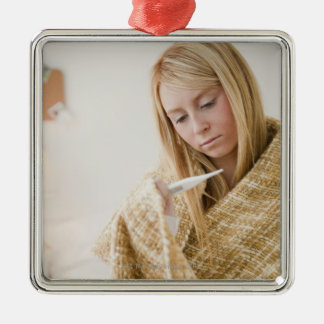 USA, New Jersey, Jersey City, woman wrapped in Christmas Ornament