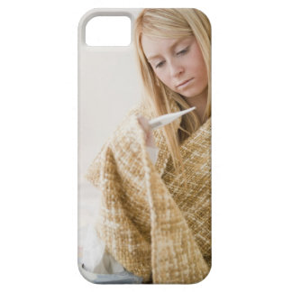 USA, New Jersey, Jersey City, woman wrapped in iPhone 5 Case