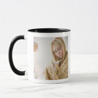 USA, New Jersey, Jersey City, woman wrapped in Mug