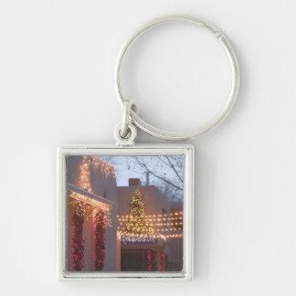 USA, New Mexico, Santa Fe: Canyon Road Gallery Silver-Colored Square Key Ring