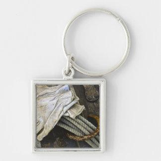 USA, New Mexico, Santa Fe. Close-up of cowboy Silver-Colored Square Key Ring