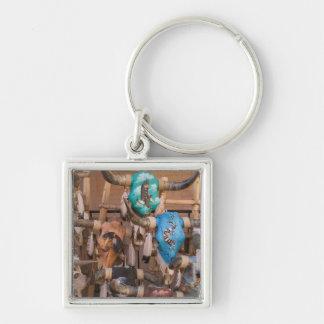 USA, New Mexico, Santa Fe: Downtown Santa Fe, Silver-Colored Square Key Ring
