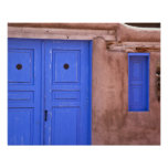 USA, New Mexico, Santa Fe. View of blue door and
