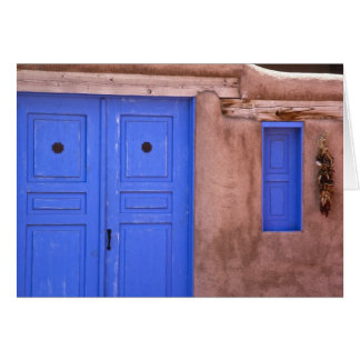 USA, New Mexico, Santa Fe. View of blue door and Card