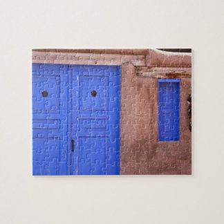 USA, New Mexico, Santa Fe. View of blue door and Jigsaw Puzzle