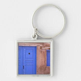 USA, New Mexico, Santa Fe. View of blue door and Key Ring