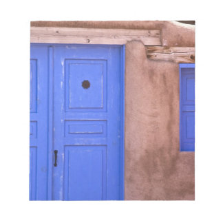 USA, New Mexico, Santa Fe. View of blue door and Notepad