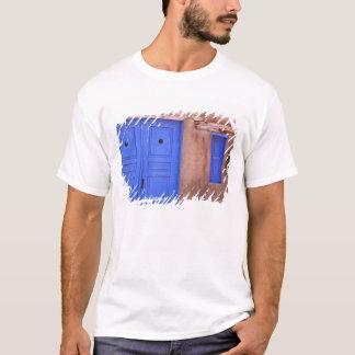 USA, New Mexico, Santa Fe. View of blue door and T-Shirt