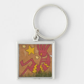 USA, New Mexico, Santa Fe. Wall mural of a Silver-Colored Square Key Ring