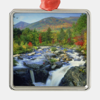 USA, New York. A waterfall in the Adirondack Silver-Colored Square Decoration