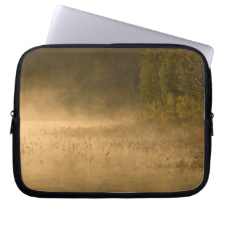 USA, New York, Adirondack Park. Sunrise mist on Laptop Sleeve