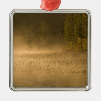 USA, New York, Adirondack Park. Sunrise mist on Silver-Colored Square Decoration