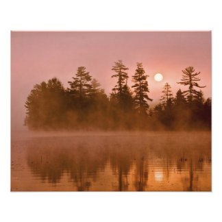 USA, New York, Adirondack Park. Sunrise on a Photograph