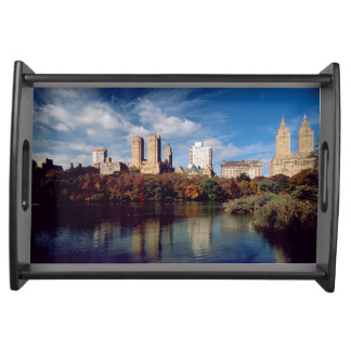 USA, New York City, Central Park, Lake Serving Tray