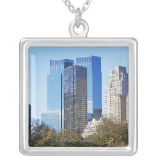 USA, New York City, Central Park with skyline Silver Plated Necklace