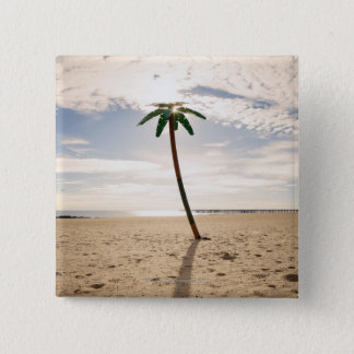 USA, New York City, Coney Island, palm tree on 15 Cm Square Badge