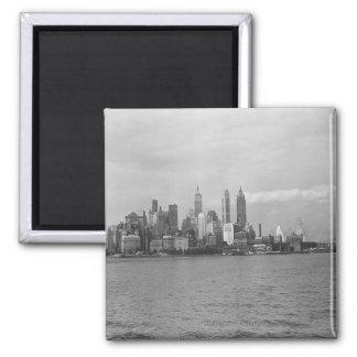 USA New York City Manhattan skyline B&W Square Magnet