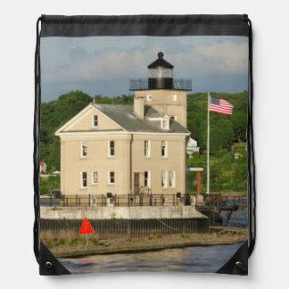 USA, New York, Kingston, Hudson River. Rondout Drawstring Bag