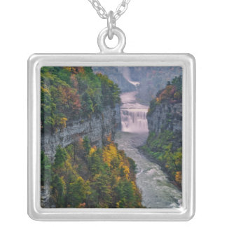 USA, New York, Letchworth State Park. River and Silver Plated Necklace