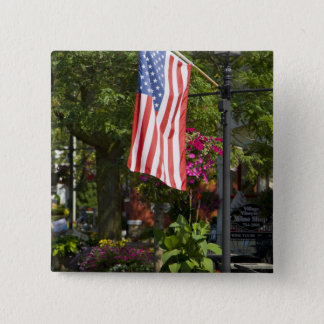 USA, New York, Lewiston. American flag attached 15 Cm Square Badge