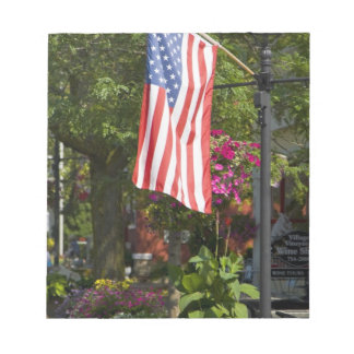 USA, New York, Lewiston. American flag attached Notepad