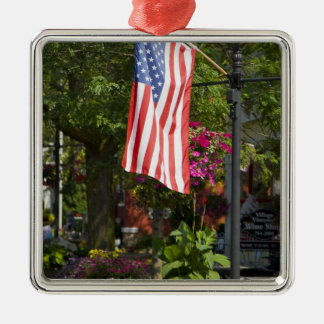 USA, New York, Lewiston. American flag attached Silver-Colored Square Decoration