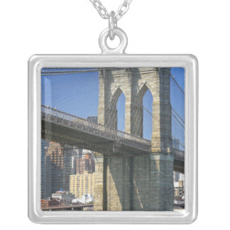USA, New York, New York City. Brooklyn Bridge Silver Plated Necklace