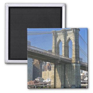 USA, New York, New York City. Brooklyn Bridge Square Magnet
